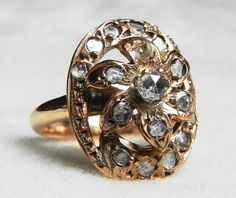 Antique Ring Rose Cut Diamond Georgian by DiamondSoulShop on Etsy