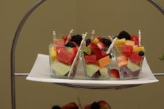 Mini fruit cups for dessert were provided by Elegant Eating of Smithtown.