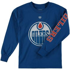 Edmonton Oilers Old Time Hockey Youth Two Hit Long Sleeve T-Shirt - Royal - $14.99