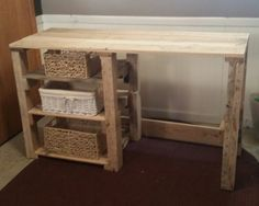 This desk/vanity made of pallets is a must have. (Baskets NOT included) *For a shipping quote contact us. **All items are one of a kind creations and can vary from the picture, however the concept is