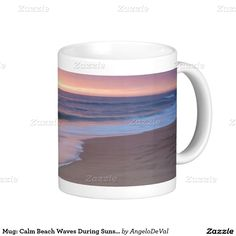 Mug: Calm Beach Waves During Sunset Basic White Mug   #sand #beach #portugal #zazzle #photography #gift #nature #outdoors #landscapes #sunset #summer #coast #nature #tide #mug #coffee #tea