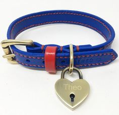 Full Stitched Royal Blue Leather Dog Collar