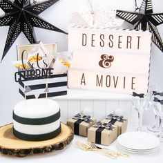 Black and white themed party dessert and a movie by for Coffee Dessert, Dessert Table, Movie Night Party, Paper Cones, Party Themes, Theme Parties, Party Ideas, Heidi Swapp, Birthday Parties