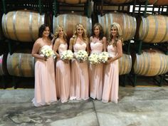Vineyard Wedding, Blush Bridesmaids Dresses!
