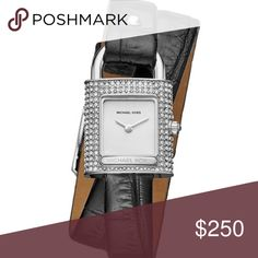 Michael Kors Padlock Watch Isadore Stainless Steel Padlock Watch with Black Leather Wrap Strap  Brand new with tags Michael Kors Accessories Watches