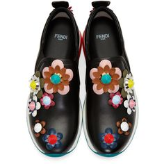 Fendi Black Flowerland Sneakers (1.890 BRL) ❤ liked on Polyvore featuring shoes and sneakers