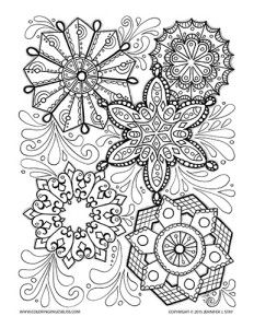 Snowflake coloring page for grown ups and adults. Hand drawn details are created by Jennifer Stay and made into a beautiful and printable coloring page. Ideal for stress relief and pain management. Christmas and winter printable to make the season more colorful and fun.
