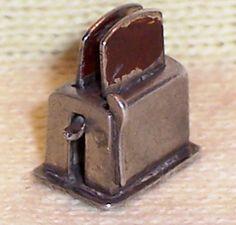 VINTAGE Sterling Enamel 1940's KITCHEN TOASTER Charm