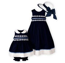 Classic navy and white...Navy with daisy chain trim