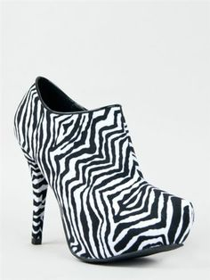 NEW QUPID Shoes Women High Heel Anke Boot Booty Animal Black White Zebra scent08