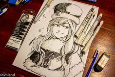 Comment dessiner Juvia de Fairy Tail au Graph It Liner Brush ?