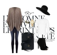 A fashion look from October 2015 featuring white top, gray poncho and denim jeans. Browse and shop related looks. Grey Poncho, Tabitha Simmons, Eugenia Kim, Frame Denim, Autumn, Fall, White Tops, Tom Ford, Denim Jeans