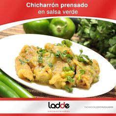 Chicharrón prensado en salsa verde :)  Consulta la receta dando clic en la foto.  #Receta #Chicharron #Salsa #Comida