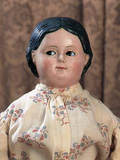 German Paper Mache Doll with Flirty Glass Eyes