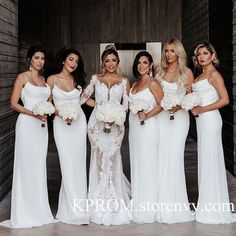 white brides maid dresses 2019 Sexy White Mermaid Bridesmaid Dress,Spaghetti Straps Long Women Party Gown for Wedding, Prom Gown on Storenvy Mermaid Bridesmaid Dresses, Wedding Bridesmaids, White Bridesmaid Dresses Long, Pronovias, All White Wedding, All White Party, Floral Wedding, Wedding Party Dresses, Party Wedding