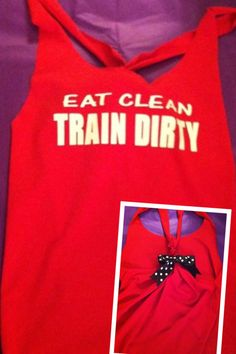 Eat Clean Train Dirty Workout Racerback Tank by RufflesWithLove, $20.00