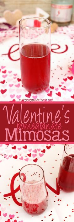 """Valentine's Mimosas The perfect drink to enjoy on the official day of """"love"""", has to be red! These Valentine's Mimosas are made with pink champagne and pomegranate juice; the perfect combination. Fun Drinks, Yummy Drinks, Alcoholic Drinks, Party Drinks, Craft Cocktails, Mimosas, Valentine Desserts, Valentines Day Food, Valentine Treats"""