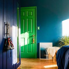 Can't decide on a single Clare color? No worries — neither could @meganzietz 😉 That's why her bold bedroom features THREE colorful hues: a Matcha Latte doors, Deep Dive walls, and a wardrobe covered in Goodnight Moon! Let this vibrant color combo inspire you to make more bold choices! 🙌 ⠀⠀⠀⠀⠀⠀⠀⠀⠀ #paintcolors #colorinspo #lifecolorfully #decor #coloreddoor #greendoor New Homes, Colorful, Canning, Bedroom, House, Inspiration, Paint, Instagram, Biblical Inspiration