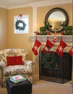 toile chair and fireplace at Christmas