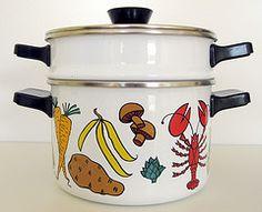 Enameled Steamer Pot (citrus colors)