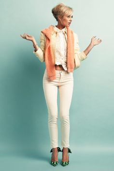 Loving white Denim atm!! You can punk it up or turn it into a 'oh so cute' outfit with a pair of bright girly shoes and a Feminine Hair do. This makes me think pretty thoughts :)
