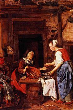 Gabriël Metsu (Dutch painter, 1629-1667) - An Old Woman Selling Fish , 1657-1662