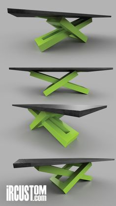 It's a game of balance. We love it when our clients choose a POP color for their.,It's a game of balance. We love it when our clients choose a POP color for their base! Going with a Black Ash top - lime green powder coated st. Welded Furniture, Steel Furniture, Industrial Furniture, Furniture Projects, Table Furniture, Modern Furniture, Furniture Design, Modern Office Design, Modern Desk
