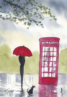red umbrella old phone booth Rainy Day Waiting by K J Carr Rain Painting, Umbrella Art, Art Portfolio, Watercolor Art, Watercolour Paintings, Box Art, Wall Art Prints, Art Drawings, Canvas Art