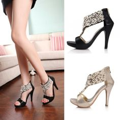Fashion Women High Heels Rhinestone Pearl Beaded Sandals Back Zipper Shoes Pumps
