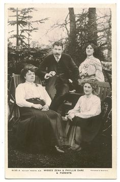 Harriette Amelia Dones, nee Wheeler (far left) , with husband Arthur Albert Dones (left), and daughters Zena (right), and Phillis (far right sittting).