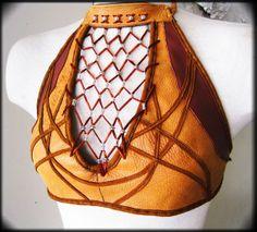 Reversible Leather Beaded Geometric Halter Top by ahniradvanyi, $220.00.  Amazing leather work by Ahni Radvanyi   AhniRadvanyi.com   #813-407-9996.