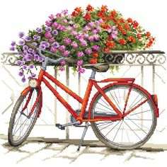 Cross stitch kit - On a bicycle through the summer # Counted Cross Stitch Patterns, Embroidery Stitches, Needlework, Bicycle, Watercolor, Stitch Kit, Crochet, Flowers, Crafts