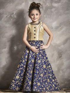 Shop Alluring lehenga choli in navy silk fabric online from India. Lehenga For Girls, Kids Lehenga Choli, Gowns For Girls, Frocks For Girls, Dresses Kids Girl, Kaftan, Kids Dress Patterns, Frock Patterns, Kids Frocks Design