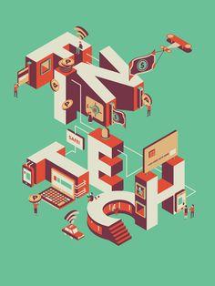 Illustration for A SPACE Philippines' event. Pop Design, Text Design, Design Art, Graphic Design, Isometric Art, Isometric Design, 3d Typography, Lettering, Type Illustration