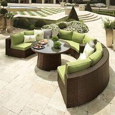 Half circle wicker furniture