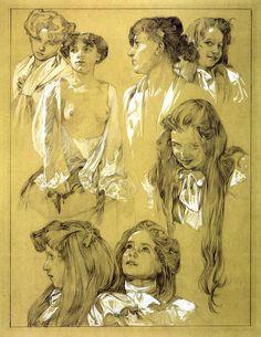 ART & ARTISTS: Alphonse Mucha - part 6 Alphonse Mucha Art, Amazing Drawings, Pencil Art, Figurative Art, Love Art, Modern Art, Framed Artwork, Art Nouveau, Giclee Print