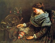 Gustave Courbet (French artist, 1819-1877). The Sleeping Spinner 1853