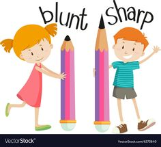 Illustration of Opposite words for blunt and sharp illustration vector art, clipart and stock vectors. Opposites Preschool, Preschool Activities, Preschool Worksheets, English Opposite Words, Learn English Words, English Language Learning, Teaching English, Ingles Kids, English Lessons For Kids