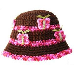 Beaded Butterfly Crochet Pattern Hat No Applique Needed 12mo-4t not free