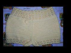 Short Cintura Alta Fácil em Crochê - YouTube Crochet Romper, Bikinis Crochet, Crochet Clothes, Crochet Lace, Knitting Videos, Crochet Videos, Crop Top And Shorts, Lace Shorts, Como Fazer Short