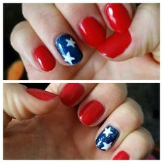 My Independence Day nails! Orly gel - Haute Red, Gelish - here's to the blue year