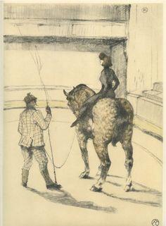Au Cirque: Travail de Repetition  1899  Henri de Toulouse-Lautrec - horse