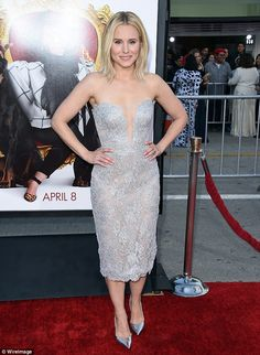 Wow factor: Kristen Bell stunned on the red carpet premiere of her flick The Boss at the Regency Village Theatre in Westwood, California on Monday night