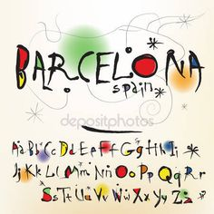 O alfabeto no estilo do artista espanhol de joan miro — Vetor de Stock © ikopylove #18213157