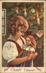 Little Girl Holding Doll beside Christmas Tree Series 701 Vintage Christmas Images, Antique Christmas, Vintage Holiday, Christmas Photos, Christmas Postcards, Christmas Tree And Santa, Christmas Past, Vintage Cards, Vintage Postcards