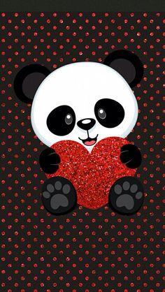 Cute panda with heart wallpaper Panda Wallpaper Iphone, Cute Panda Wallpaper, Panda Wallpapers, Hd Wallpaper Android, Bear Wallpaper, Cute Cartoon Wallpapers, Cute Wallpaper Backgrounds, Animal Wallpaper, Wallpaper Ideas