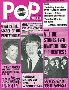 pop weekly magazine | UK-1965-Music-Magazine-POP-WEEKLY-no-30-PJ-Proby-Beatles-H-Hermits Herman's Hermits, Stone World, Pop S, Music Magazines, Rolling Stones, The Beatles, Ebay, Movie Posters, Magazine Covers