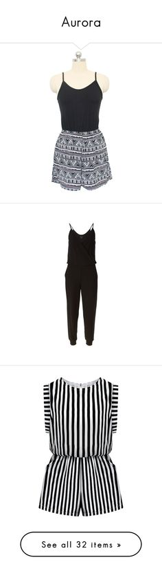 """Aurora"" by e-carson ❤ liked on Polyvore featuring jumpsuits, rompers, black, spaghetti strap romper, playsuit romper, black rompers, open back romper, tribal print romper, jumpsuit and dresses"