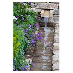 GAP Photos - Garden & Plant Picture Library - Detail of contemporary stone waterfall set into stone pier with naturalistic planting including Geranium pyrenaicum 'Bill Wallis', Ammi majus 'Graceland', Euphorbia x martinii and Alchemilla molllis - GAP Photos - Specialising in horticultural photography
