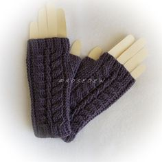 Crocheted WOOL BLEND Palm Fingerless Mitts in Violet, fingerless gloves